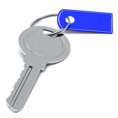 Silver key with blank blue tag, 3d image