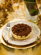 tiramisu over golden table