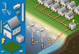 Isometric houses with offshore wind turbines in production of en