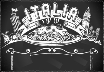 vintage graphic element for italian first course menu