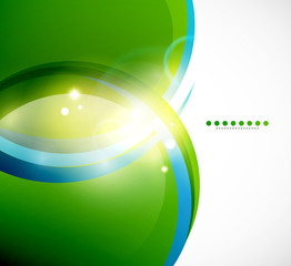 Detailed green wavy vector abstract background
