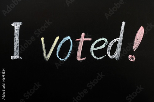 I voted - written on a blackboard