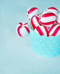 Striped peppermint candy in a cupcake
