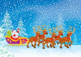 Sleigh of Santa Claus in a snow-covered foresr
