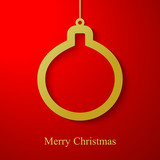 Christmas gold ball applique on red background
