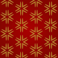Christmas red seamless background with gold snowflakes