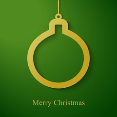 Christmas gold ball applique on green  background