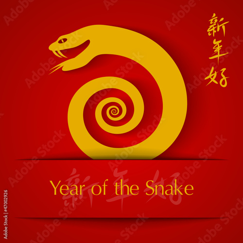 Year of the Snake 2013 applique  on red background