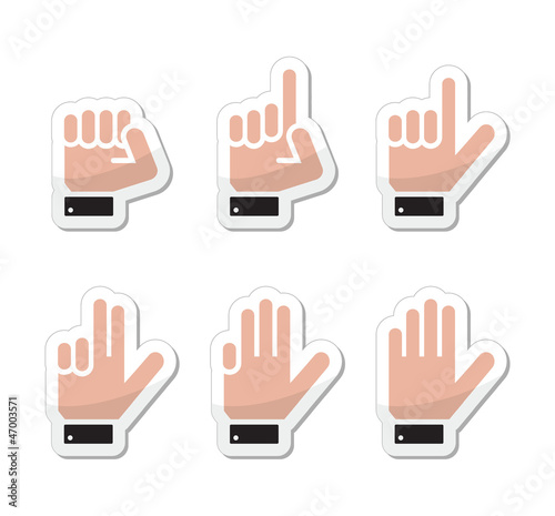 Counting hand signs as labels - vector isolated on white