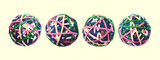 four rubber band balls