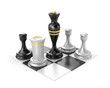 Chess pieces, icon over white.