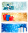 Three christmas banners with gift boxes and snowflakes. Vector i