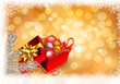 Christmas background with open gift box with presents. Vector.