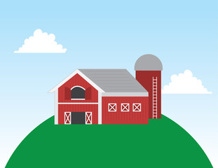Cartoon barn on a large hill