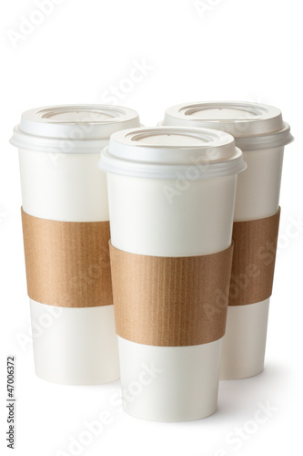 Three take-out coffee with cup holders