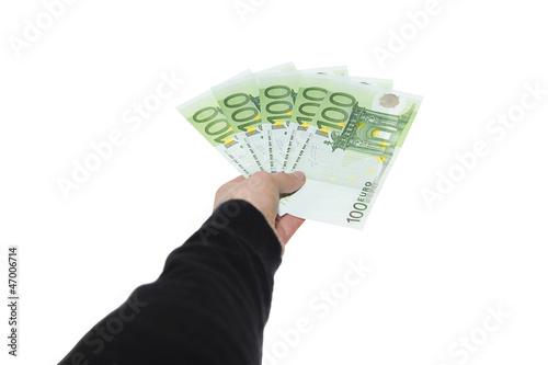 Bezahlung Mit Einhundert Euro Geldscheinen - Freisteller