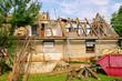 canvas print picture - Dachstuhl abbrechen - roof truss demolish 10