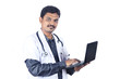 Indian young doctor with laptop