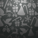 Gray Christmas seamless pattern