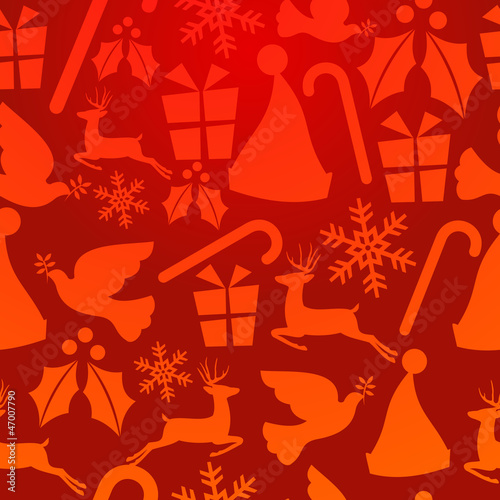 Red Christmas elements pattern