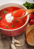 tomato Soup on Rustic Canvas. Shallow DOF