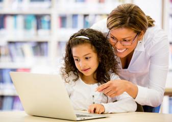 Schoolgirl researching online