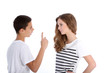 Two young teenagers arguing