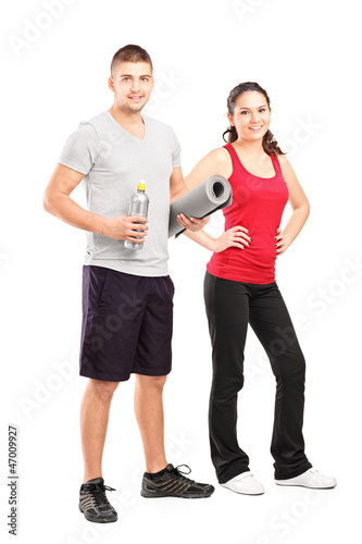 Man and female athlete after an excerise