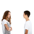 Teenage boy and girl chatting