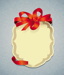 Vector greeting card with ribbon