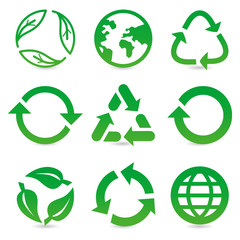 vector collection with recycle signs and symbols