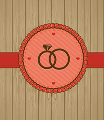 Vector vintage greeting card with wedding rings