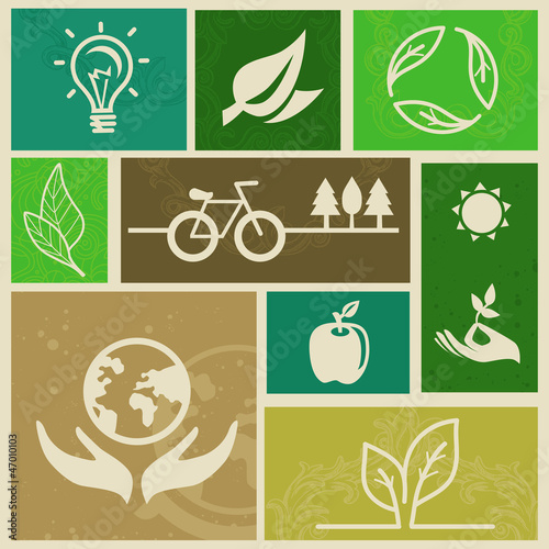 Vector retro labels with ecology signs
