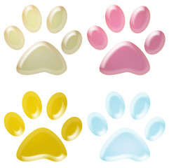 3d coloured pet paws