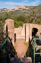 View of ruins and stairs at Villa Adriana background  Tivoli