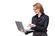Happy Business Woman Pointing at Laptop