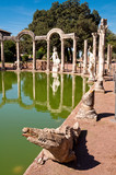 Crocodile statue and clumns at Canopo in Villa Adriana
