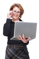 European Woman Holding Laptop and Glasses