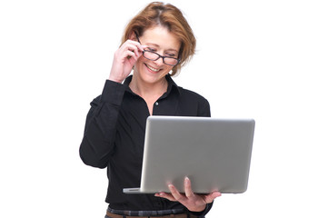 Isolated Smiling Woman and her Laptop