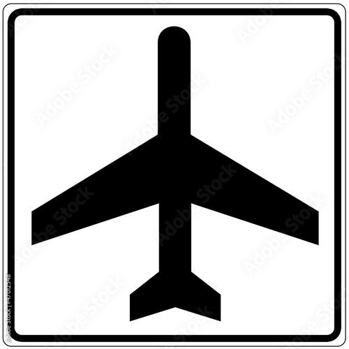 Schild weiß - Flugzeug