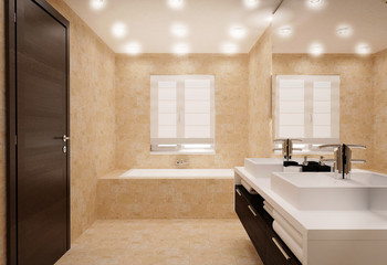 bathroom interior in bright colors