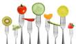 canvas print picture - viele Gabeln mit Obst und Gemüse
