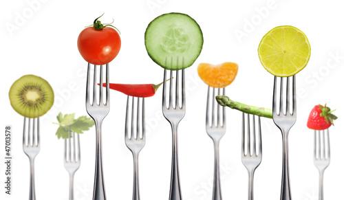 canvas print picture viele Gabeln mit Obst und Gemüse