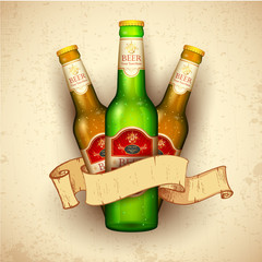 Beer Bottle with Ribbon