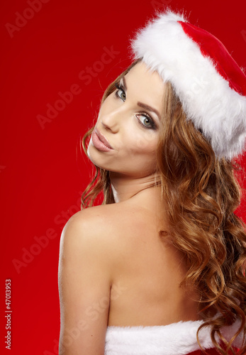 Beautiful christmas woman portrait