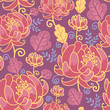 Vector magical flowers elegant seamless pattern on purple