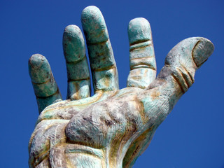 A giant hand, part of Holocaust Memorial in Miami