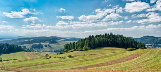 Panoramic landscape in Pieniny mountains