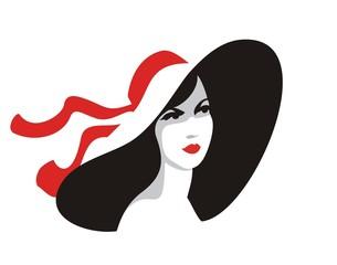 Fashion woman portrait in big hat