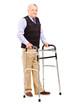 Full length portrait of a mature gentleman using a walker